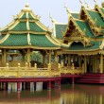 Pagoda on a bridge over a lake, Ayutthaya, Bangkok, Thailand — Stock Photo #52808503