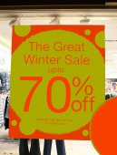 Sale sign. The great Winter sale up to seventy percent off. store window sale sign — Stock Photo