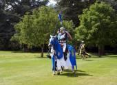 Knights riding horses — Stock Photo