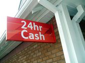 Twenty four hr cash. twenty four hour cash. cash machine sign. ATM sign. sign — Stock Photo