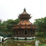 Pagoda on a bridge over a lake, Ayutthaya, Bangkok, Thailand — Stock Photo #56961471