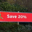 Save twenty percent off. Christmas sale sign. sale sign. red sale sign — Stock Photo #59188235