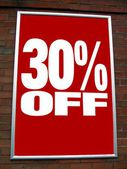 Red sale sign. sale sign. thirty percent off. store's sign — Stock Photo