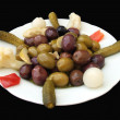 Appetizer. starter. preserved food. plate of olives and pickles — Stock Photo #60181737