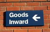 Goods inward sign — Stock Photo