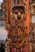 Mexican carved wooden masks . mexican folklore art — Stock Photo