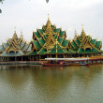 Pagoda on a bridge over a lake, Ayutthaya, Bangkok, Thailand — Stock Photo #68940121