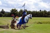 Jousting knights Knights riding horses — Stock Photo