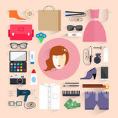 Women's clothes. Shopping. Fashion Women bags. — Stock Vector