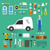 Vector color flat illustrations. Building. Tools. Repair. Plumber. Builders icons set. — Stock Vector