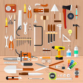 Carpentry. Construction hardware tools.Tree texture background.Vector color flat illustrations. — Stock Vector