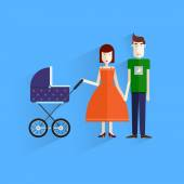 Family illustration.Happy Family Parents with Children.Flat design. Father, mother, son. — Stock Vector