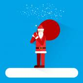 Santa Claus standing on the snow with his sack of presents. Merry Christmas. Modern flat style. Happy New Year. — Vector de stock