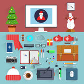 Christmas eve creative workplace concept. Christmas and New Year office decoration. Santa claus workstation flat design. Winter holidays. Business work elements, office things,equipment, objects. — ストックベクタ