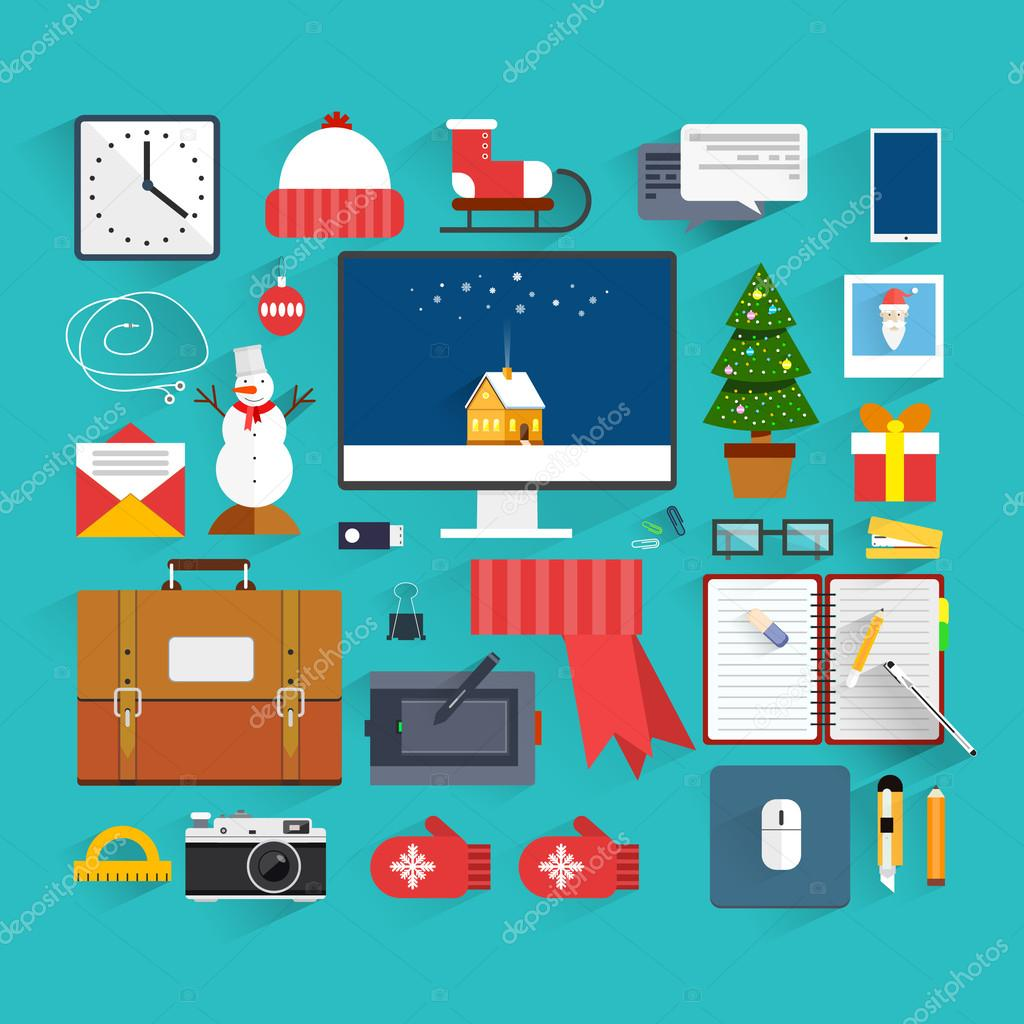 Christmas eve creative workplace concept christmas and for Flat decoration photos