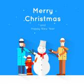 Merry Christmas and Happy New Year greeting card templates. Poster, banner, card, sticker. Flat design. — Stock Vector