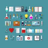 Set of icons for medicine. Flat medical icons with long shadow. Medical collection. Medicine and chemical. Design elements for mobile and web applications. — Stock Vector