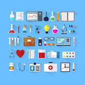Set of icons for medicine. Flat medical icons with long shadow. Medical collection. Medicine and chemical. Design elements for mobile and web applications. — Stock vektor