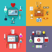 Design elements for mobile, web applications. Flat medical icons with long shadow. Set of flat design concept medicine and chemical icons. Four composition on the medical theme. — Stock Vector