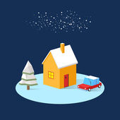 Winter landscape with fir tree and a car near the house 3D with long shadow. Christmas and New Year. Winter Village landscape. Christmas landscape. — Stock Vector