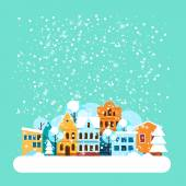 Card with city winter landscape with falling snow. Winter holidays landscape with snow covered city. Merry Christmas and Happy New Year greeting card. Vector Flat illustrations. — Vetor de Stock