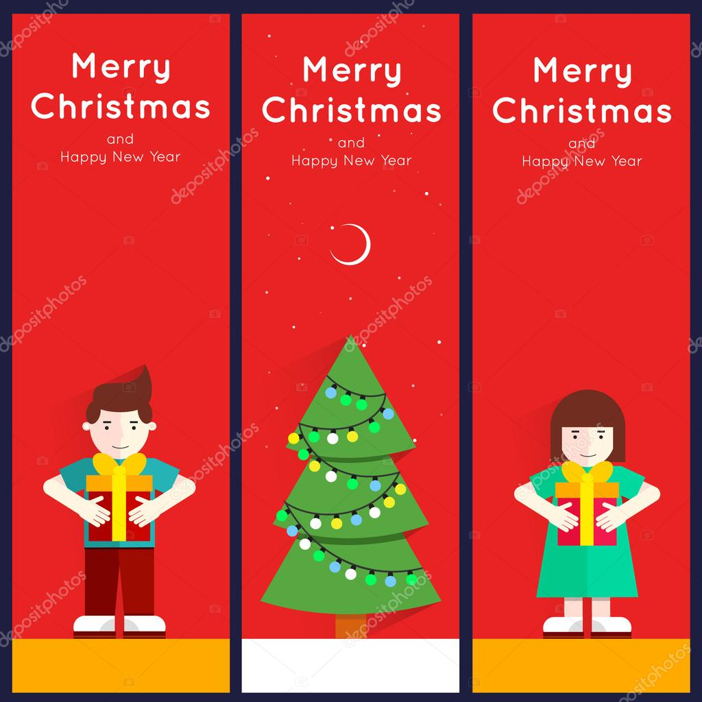 Christmas and Happy New Year greeting card templates Poster – New Year Greeting Card Template