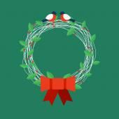 Christmas wreath with bullfinches. Vector illustration. — Stock Vector