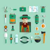 Character and Icons eco-tourism. Tourist flat design. Vector illustration. — Stockvektor