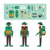 Character in the three perspectives and icons of eco-tourism. Flat design. Vector illustration. — Stock Vector