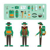 Character in the three perspectives and icons of eco-tourism. Flat design. Vector illustration. — Vecteur
