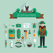 Set of icons eco-tourism with long shadow. Character and landscape with mountains and forests. Flat design. — Vecteur