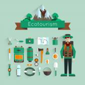 Set of icons eco-tourism with long shadow. Character and landscape with mountains and forests. Flat design. — Stockvektor