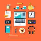 Desktop designer, freelance manager. Set of flat icons. Design elements for web and mobile applications. — Stock Vector