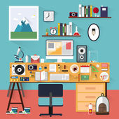 Office Worker. Icon collection in stylish colors of business work. Vector illustration office workspace, workplace. Flat design. — Stock Vector