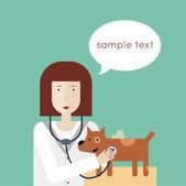 Veterinarian examining a puppy — Stock Vector
