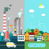Pollution and eco-friendly landscape — Stock Vector