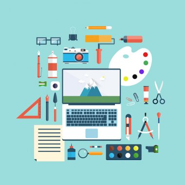 Designer workspace with tools