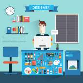 Designer workspace with tools and devices — Stock Vector