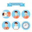 Morning procedures icons — Stock Vector #66319137