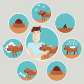 Set of icons  caring for a dog — Stock Vector