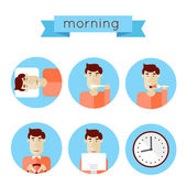 Morning procedures icons — Stock Vector