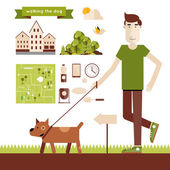 Man walking dog — Stock Vector