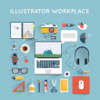 Designer workspace with tools — Stock Vector #67065225
