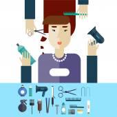 Woman at beauty salon. — Stock Vector