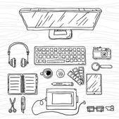 Office workspace sketch — Stock Vector
