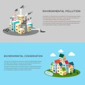 Pollution and eco-friendly landscapes — Stock Vector