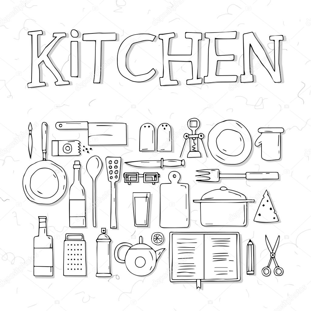 Sketches Of Modern Kitchen Utensils : Descargar - Dibujo de utensilios de cocina — Ilustración de Stock ...
