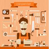Carpenter character at work. — Stock Vector
