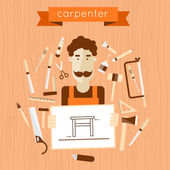Carpenter character holding the drawing. — Stock Vector