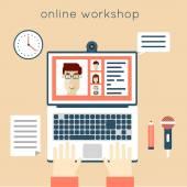 On-line workshop illustration. — Stock Vector